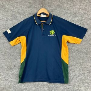 Cooper Sports Socceroos Mens Polo Shirt Size Large Blue Short Sleeve 29.12
