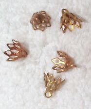 VINTAGE FINE FILIGREE BEAD CAPS FINDINGS WITH RING 12 PCS FOR REPURPOSED WORK