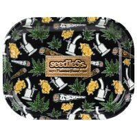 """Metal Rolling Tray """"Seedless Essential"""" 7 x 5.5 - Free Same Day Express Shipping"""