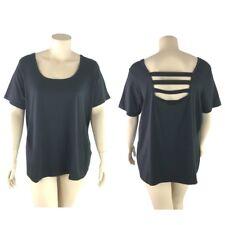 Denim 24/7 Top Women Plus 2X Black Stretch Strap Back Relax Fit Short Sleeve New