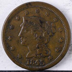 1845 Braided Hair Large Cent VF light porosity