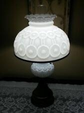Vintage L.G. Wright Milk Glass Moon & Stars Electric Hurricane Table Lamp
