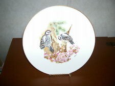 2 Boehm Woodland Birds Plates Woodpecker and Warbler Made in England 10 & 3/4""