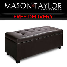 Mason Taylor Large Ottoman PU Leather Chest Storage Box Foot Stool OTM-L2-BR