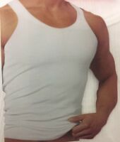 BRAND NEW 3 Pack Men's Plain White Ribbed Tank Top A-Shirt Undershirt 100%Cotton