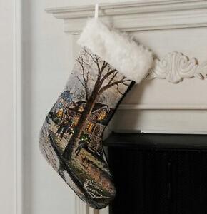 Thomas Kinkade Hometown Christmas Fiber Optic Tapestry Christmas Stocking