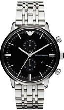 NEW EMPORIO ARMANI AR0389 MENS STEEL CHRONOGRAPH WATCH - 2 YEAR WARRANTY