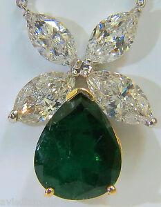 8.31CT NATURAL DIAMOND EMERALD PENDANT STAR+