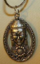 Handsome Silvertone Openwork Sculpted Buddhist Meditation Medal Pendant Necklace