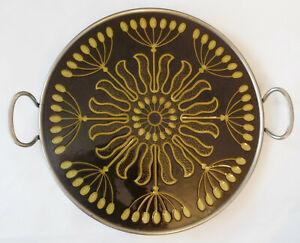 Jugendstil Kuchenplatte Villeroy & Boch Dresden stilisierte Blüten Metallfassung