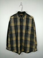 VINTAGE MENS FLANNEL SHIRT GANT USA SIZE M GREY CHECK LONG SLEEVE BUTTON UP WORK