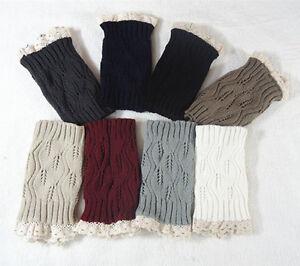Women Winter Leg Warmer Knitted Socks Crochet Leggings Lace Boot Toppers Gifts