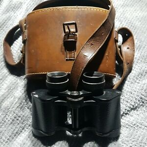 Old Binocular/Brass fittings Leather (Blue Velvet) Case
