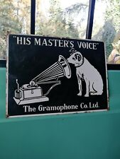 HMV enamel sign His Master Voice enamel sign porcelain sign gramaphone company