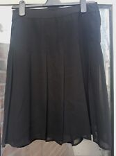 H&M Ladies Black Chiffon Flared A Line Fully Lined Pleated Skirt Size 36/ US 6