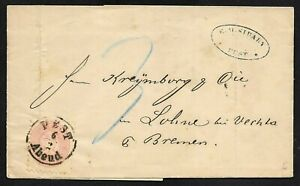 Hungary Folded Letter Cover Pest to Germany 1867