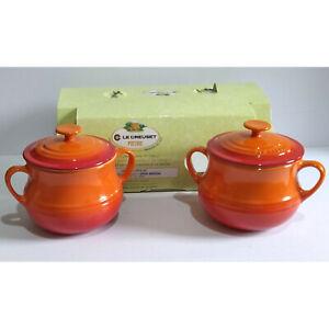 Le Creuset Small Bean Pots with Lids x 2 - Volcanic - Please Read