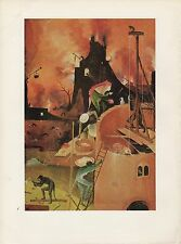 """1971 Vintage HIERONYMUS BOSCH """"HAY WAIN - TOWERS OF HELL"""" COLOR Art Lithograph"""