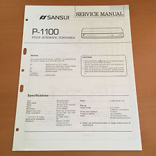 Sansui P-1100 Turntable Repair / Service Manual Schematics Factory Original!