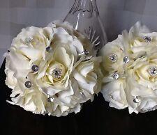 2 X MAIDS WEDDING FLOWERS IVORY/CREAM SILK FLOWER/DIAMANTÉ BRIDAL POSY BOUQUETS