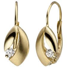 Boutons 333 Gold Gelbgold teil matt 2 Zirkonia Ohrringe Ohrhänger Goldohrringe