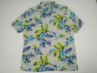 Tommy Bahama Silk S/S Button-Front Hawaiian Shirt:Mens L White/Blue/Green Floral