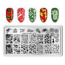 BORN PRETTY Christmas Celebration Nail Art Stamp Plate New Year Theme Templates