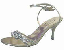 Wedding Party Heeled Evening Shoes Sandals Diamante Gold NEW