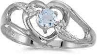 10k White Gold Round Aquamarine And Diamond Heart Ring (CM-RM1336W-03)