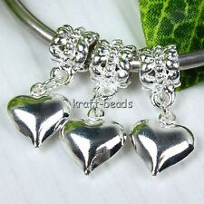 10Pcs Silver Plated Heart Dangle European Beads Fit Charms Bracelet Large Hole