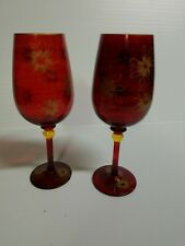 Red Wine Glass with Gold flowers Set Of 2 royal Danube