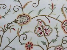 Crewelwork No9 Embroidered Wool on Cotton Curtain Fabric 5m
