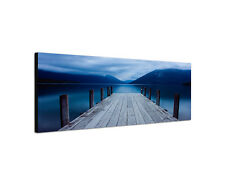 120x40cm Wandbild Leinwand Keilrahmen Panorama Steg Bergsee Sinus Art