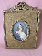 Alte Miniatur Frau Dame sign. Stieler Miniaturmalerei Lupenmalerei Bronze 10887