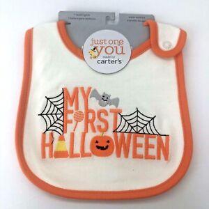My First Halloween Carters Baby Teething Bib Unisex Boy Girl Front Snap Closure
