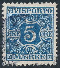Denmark Scott P2/AFA AP2, 5ø blue Newspapers, VF used, light cancel