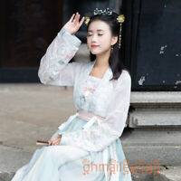 Women's Dress Ancient Costume Sun-top Tops Skirt Suit Hanfu Embroidery Cosplay