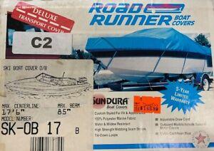 """Ski Boat Cover OB 17' x 85"""" Cover - New in the box Blue Sundura Fabric"""