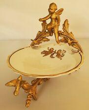 Antique French Gilt Gold Cherub 2pc Soap Dish Vanity Dresser Dish Ormolu