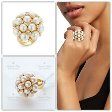 Kate Spade Nouveau Pearls Crystal Cluster Ring Cocktail Size 7 NWT Gifts