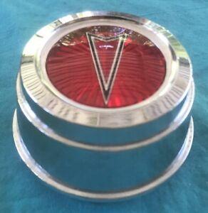1 Vintage Pontiac Logo Emblem RED Chrome OEM Wheel Rim Center Hub Cap 100 5310