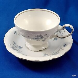 Johann Haviland Blue Garland Footed Cup and Saucer Set White Blue Platinum 7 oz