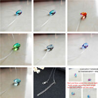 Necklace Women Colored Pendant Mermaid Tears Small Drop Snake Chain Glass Gifts