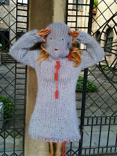 Hand Knitted Mohair Sweater Fetish Unisex Thick Fuzzy  Jumper 5 Strang GRAY S,XL