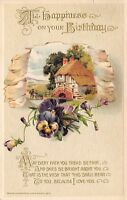 Calligraphy~Farmers with Wheelbarrow~Purple Pansies Pour From Portal~John Winsch