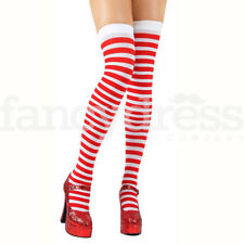 Red and White Striped Stockings Christmas Santa Hold Ups Fancy Dress Costume NEW
