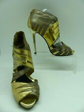 River Island Gold Ankle Sandal Open toe Leather Cut Away Boot Heels Snakeskin 5