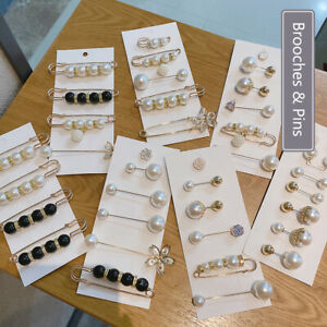 Brooch Rhinestone 1set Shawl Buckle Imitation Pearl Pearl Brooch Sweater Pin