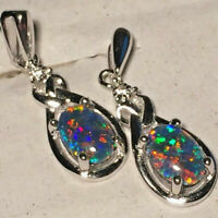 Opal Earrings 7 x 5mm Genuine Australian Opal Triplets Sterling Silver Settings