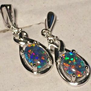 Opal Earrings 7 x 5mm Genuine Australian Opal Triplets Sterling Silver Settings